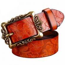 Woman's Floral Leather Belt